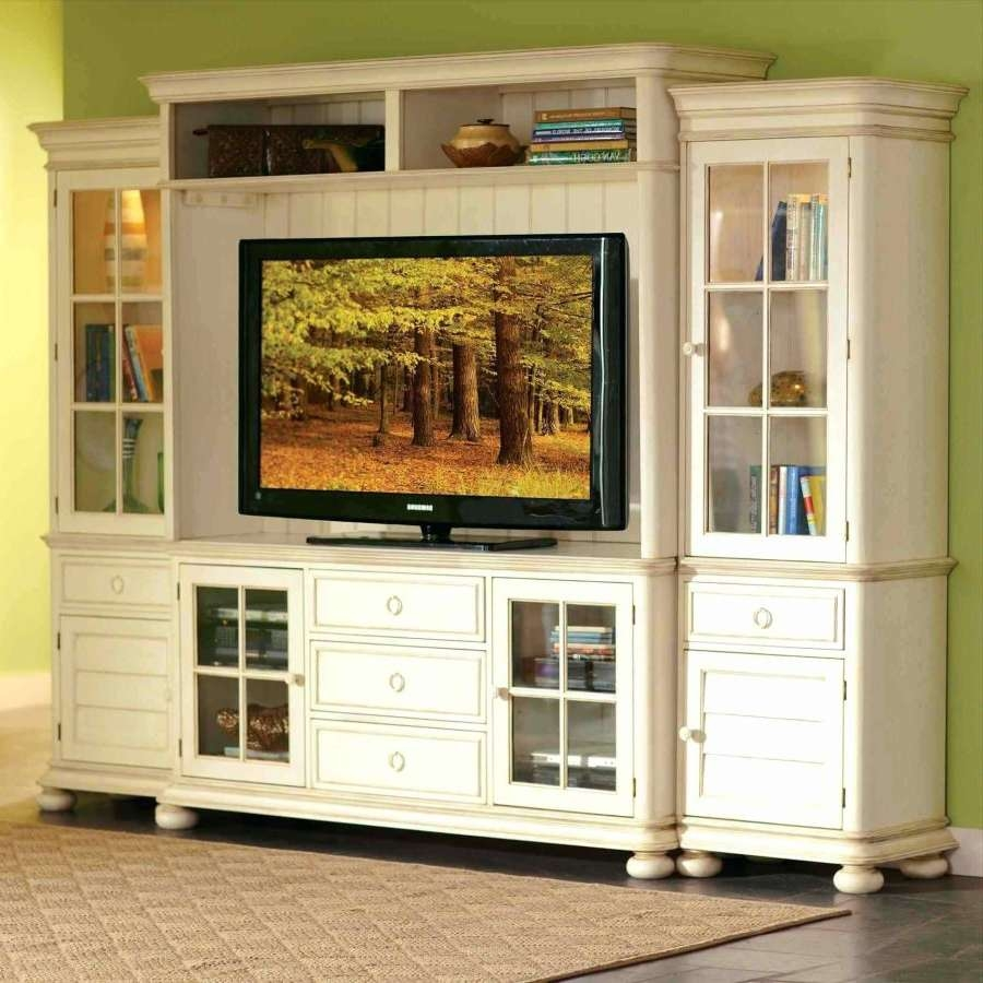 Tv Stand : Tall Wood Tv Stand Black With Glass Doors Of Stands Intended For White Wood Tv Cabinets (View 12 of 20)