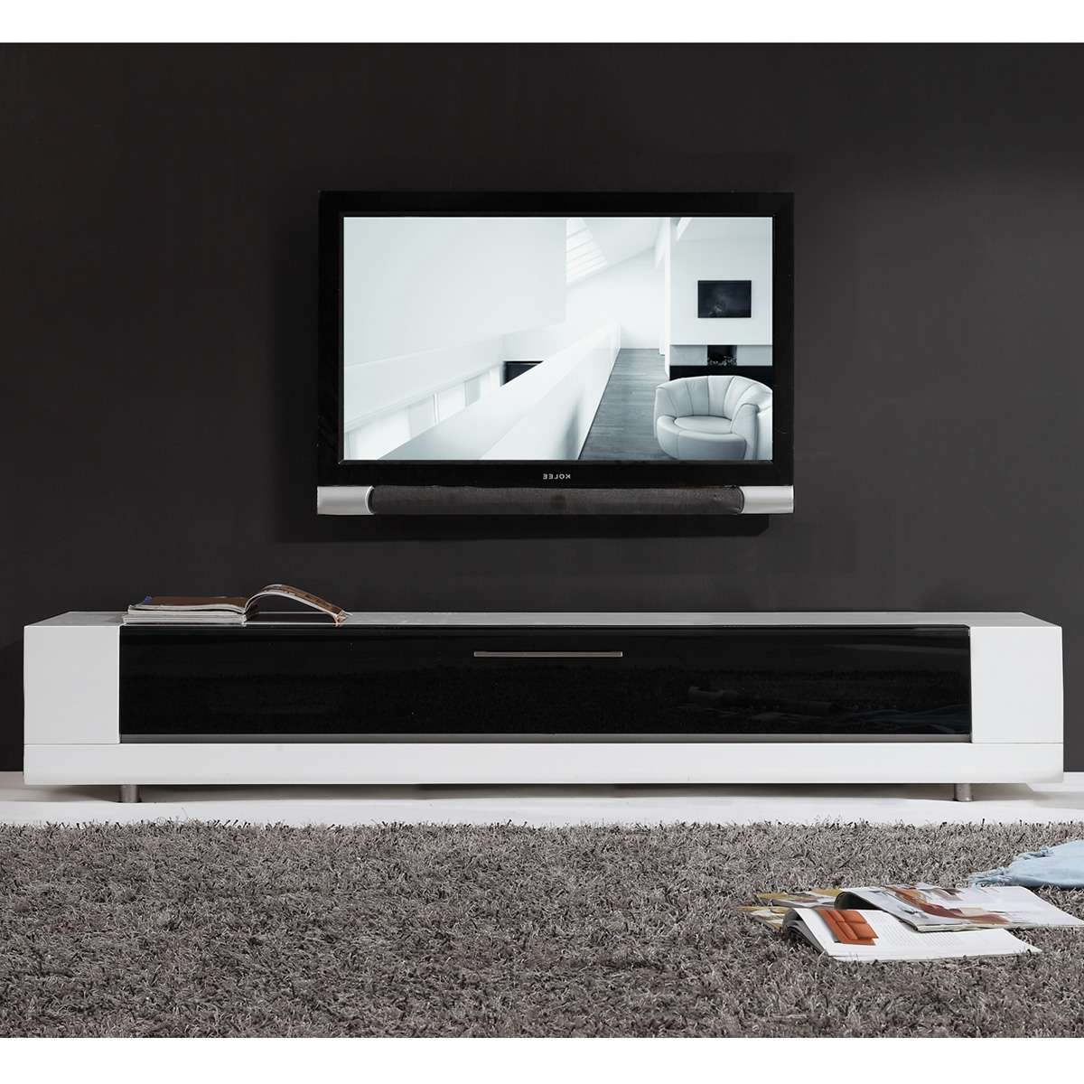 Tv Television Stands 71 & Wider At Dynamic Home Decor Inside High Gloss White Tv Cabinets (View 13 of 20)