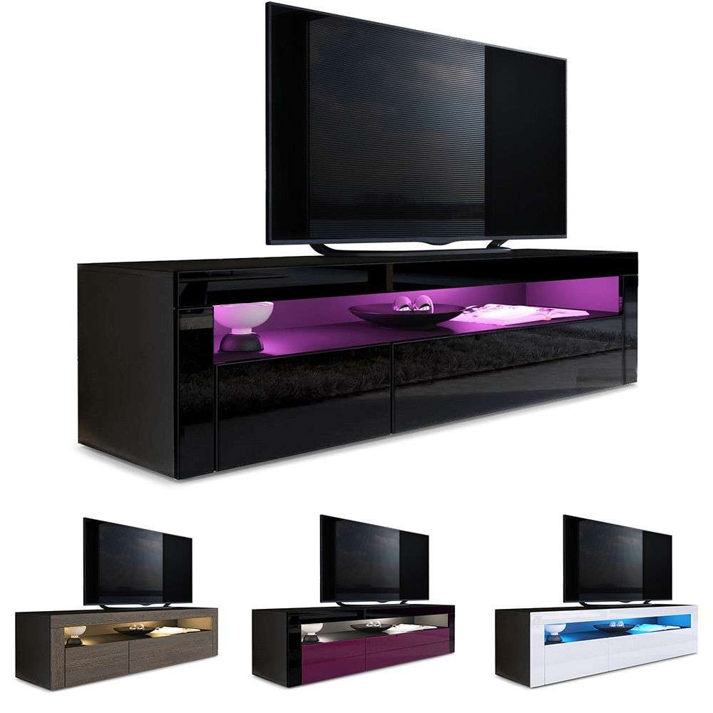 Tv Unit Stand Sideboard Led Valencia In Black – High Gloss Pertaining To Black Gloss Tv Cabinets (View 16 of 20)