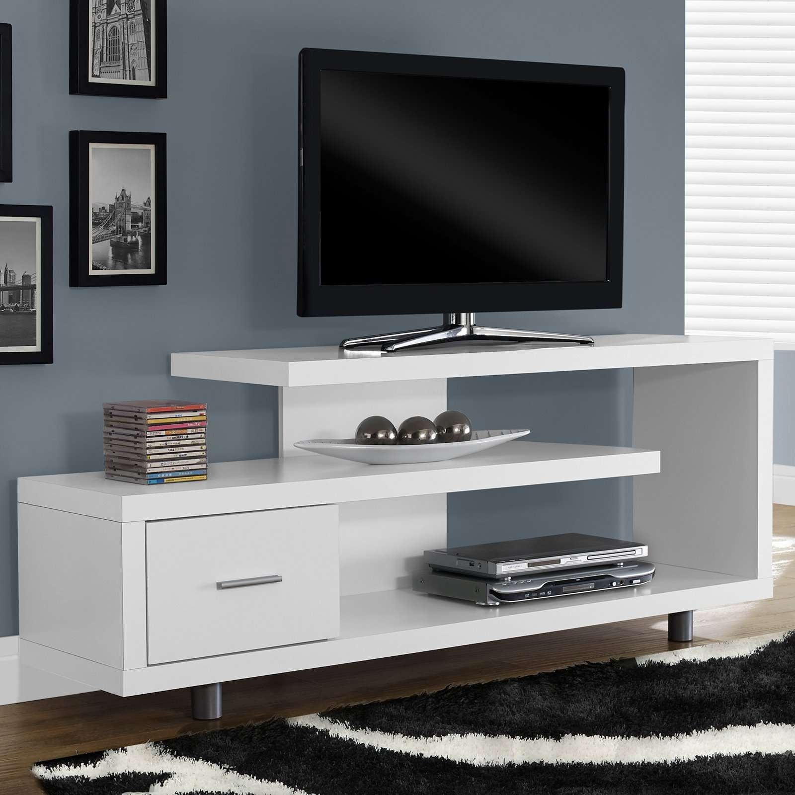 Tvilum Match Tv Stand With Adjustable Shelves – White | Hayneedle For Fancy Tv Cabinets (View 5 of 20)