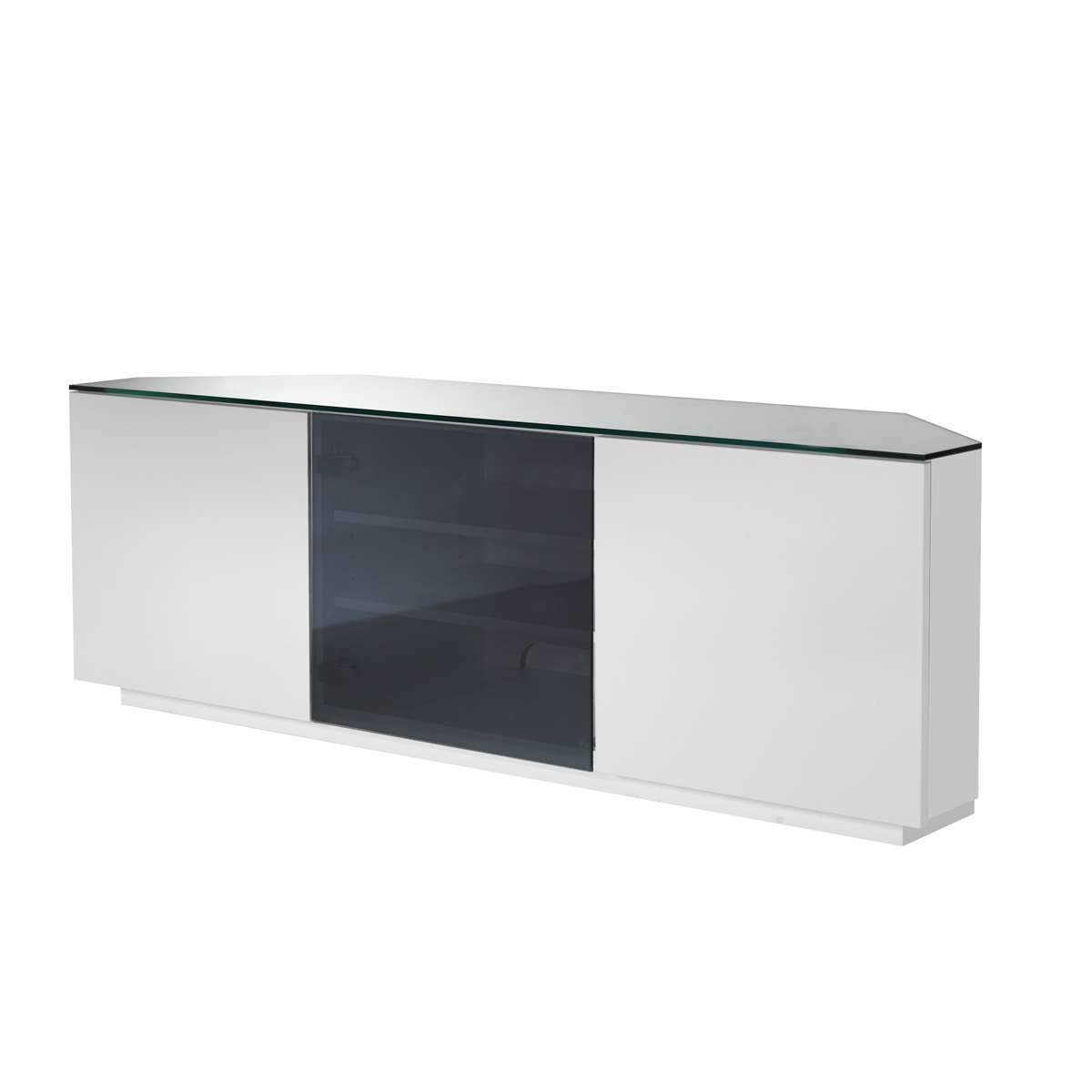 Ukcf Milan White Gloss & Black Glass Corner Tv Stand 150Cm In Black Corner Tv Cabinets With Glass Doors (View 19 of 20)