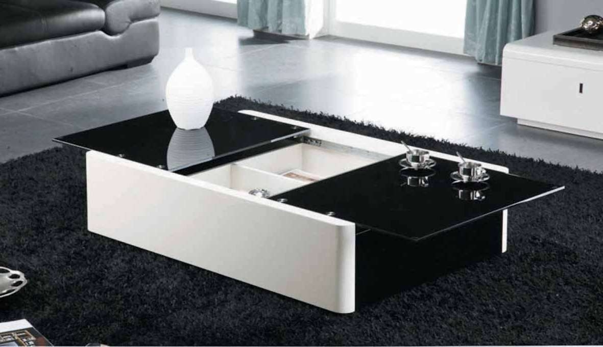 Ultra Modern Black And White Leather Glass Coffee Table • Coffee For Most Up To Date Modern Black Glass Coffee Table (View 3 of 20)