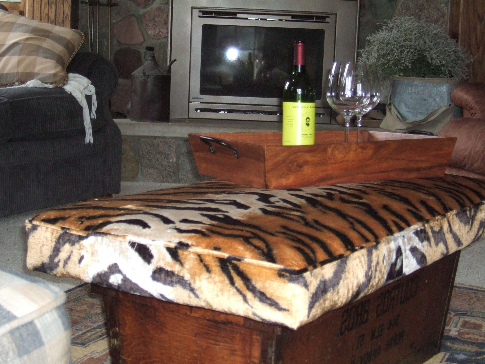 Upholstered Cushion Footstool Doubles As Coffee Table – Sew What With Regard To Current Animal Print Ottoman Coffee Tables (View 11 of 20)