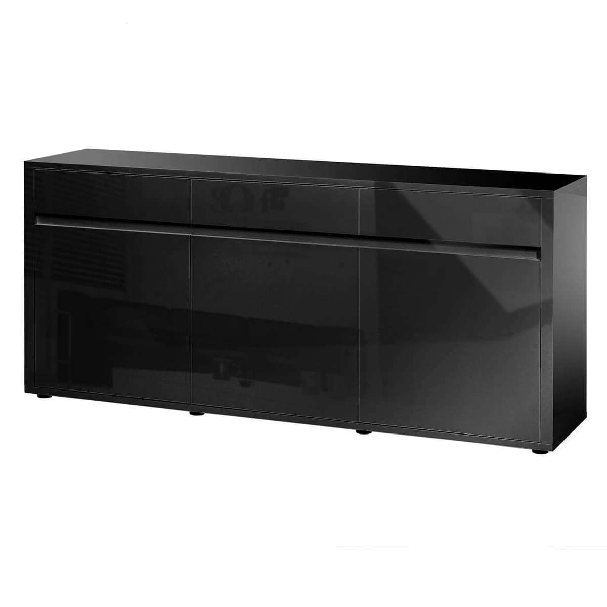 Urbana Black High Gloss Sideboard 3 Door 3 Drawer | Fads Regarding High Gloss Sideboards (View 19 of 20)