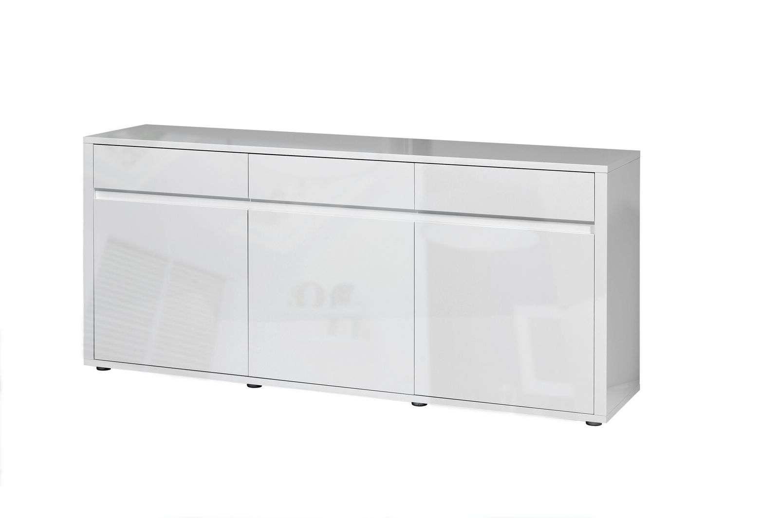 Urbana White High Gloss Sideboard 3 Drawer 3 Door | Fads With White High Gloss Sideboards (View 6 of 20)