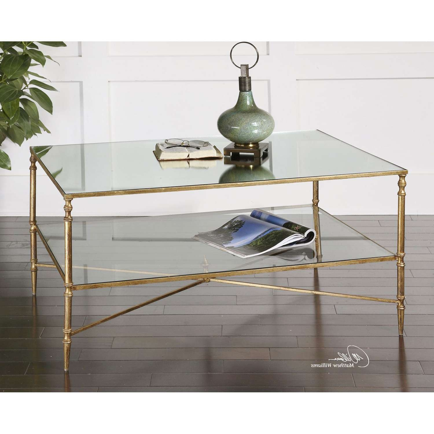 Uttermost Gold Henzler Coffee Table On Sale Throughout Preferred Glass Coffee Tables With Shelf (View 18 of 20)