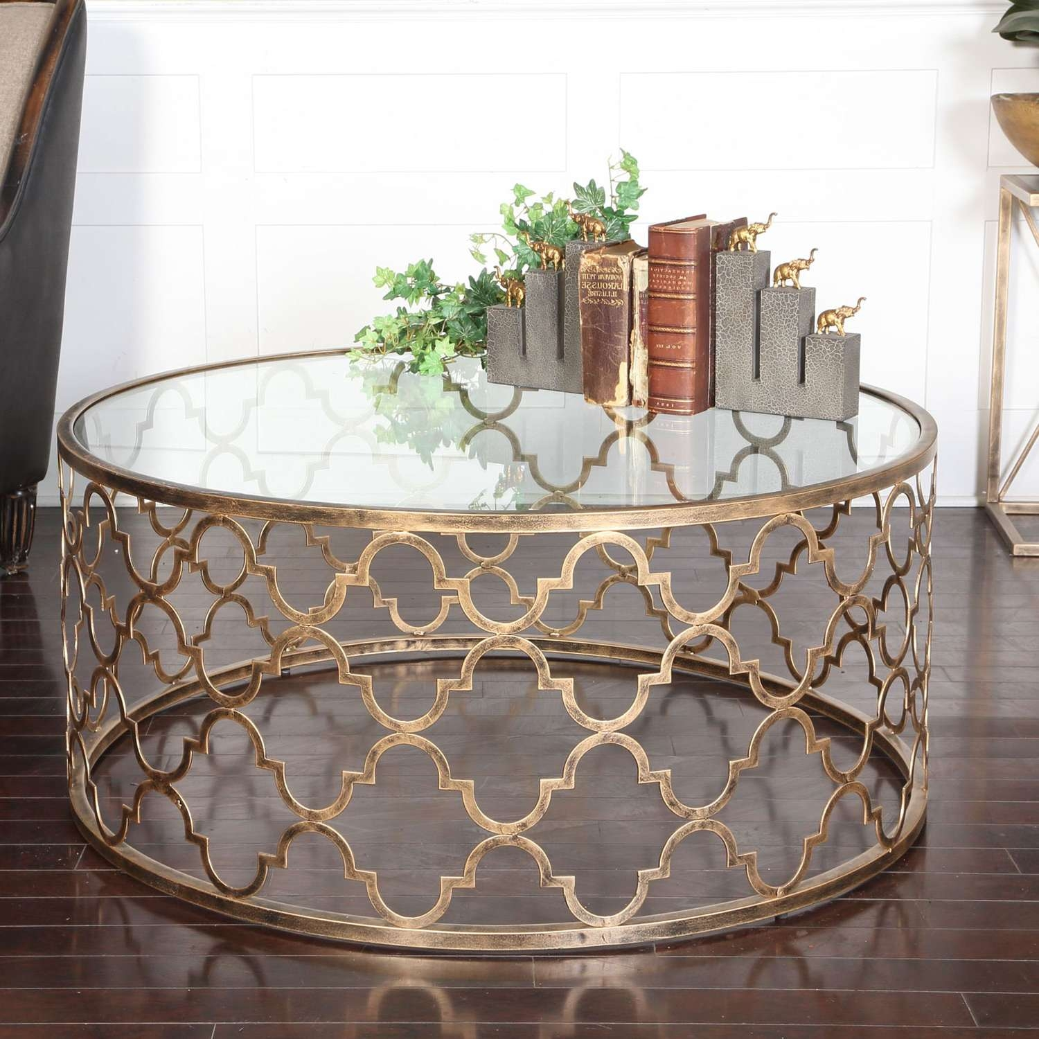Uttermost Quatrefoil Gold Coffee Table On Sale With Regard To Well Liked Glass Gold Coffee Tables (View 6 of 20)