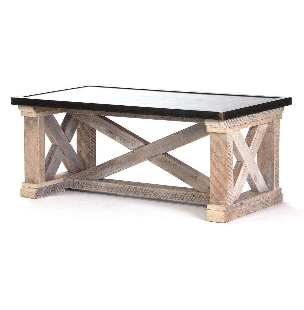Valerya Zinc Top Chunky Rustic Solid Wood Coffee Table (Gallery 14 of 20)