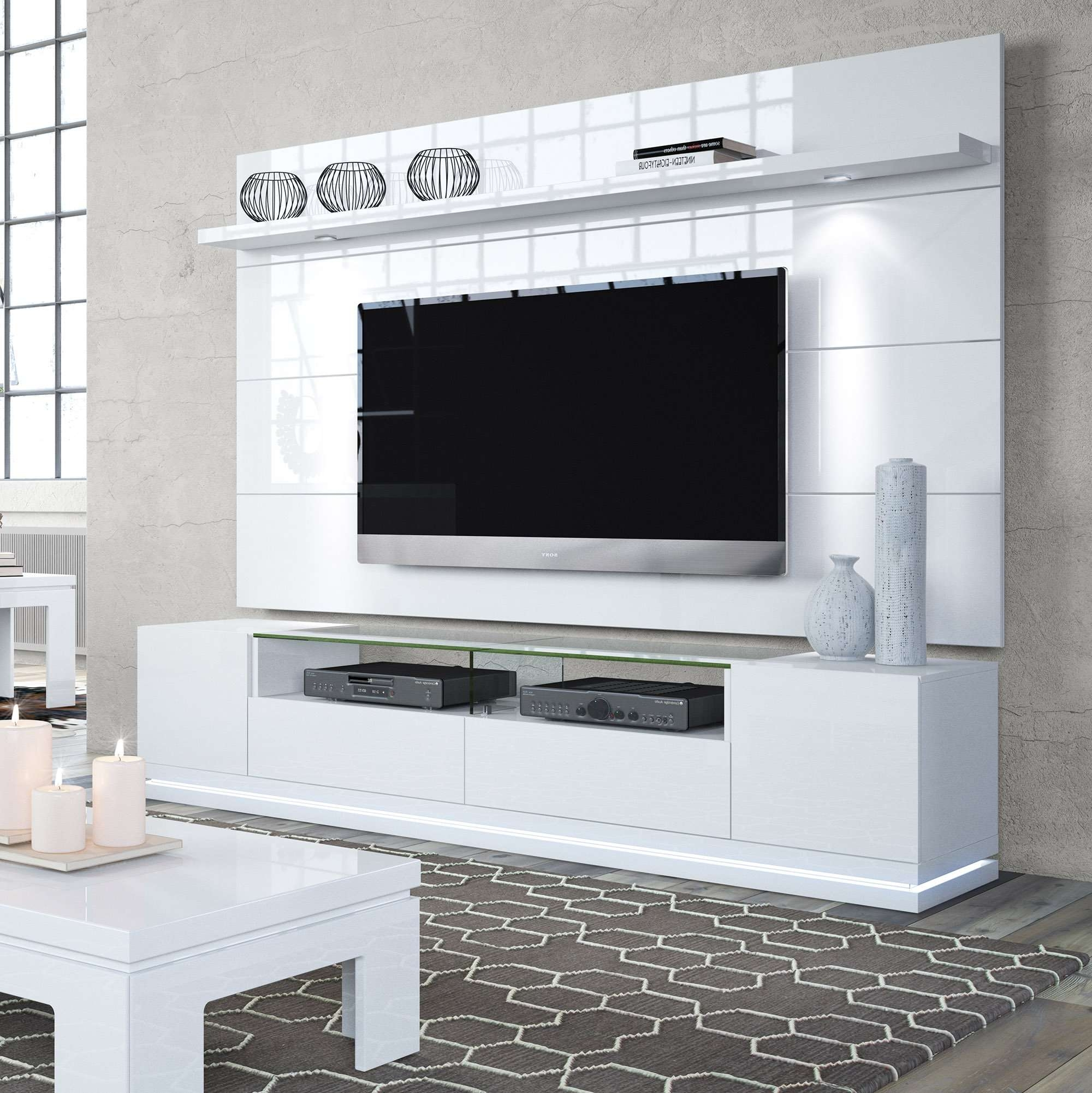 Vanderbilt White Gloss Tv Stand & Cabrini 2.2 Floating Wall Tv Inside Tv Cabinets Gloss (Gallery 4 of 20)