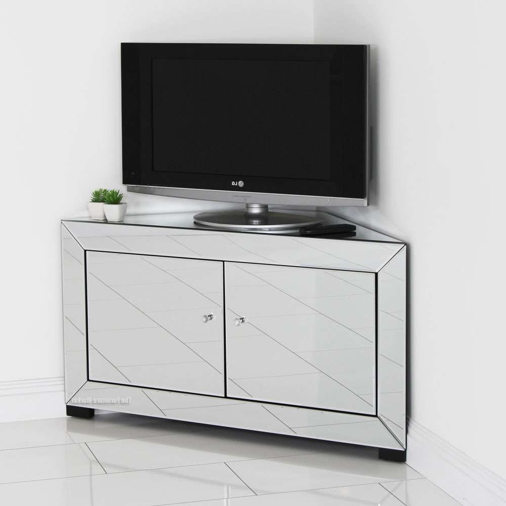 Venetian Mirrored Corner Tv Cabinet – Widescreen Plasma Flatscreen In White Corner Tv Cabinets (Gallery 12 of 20)