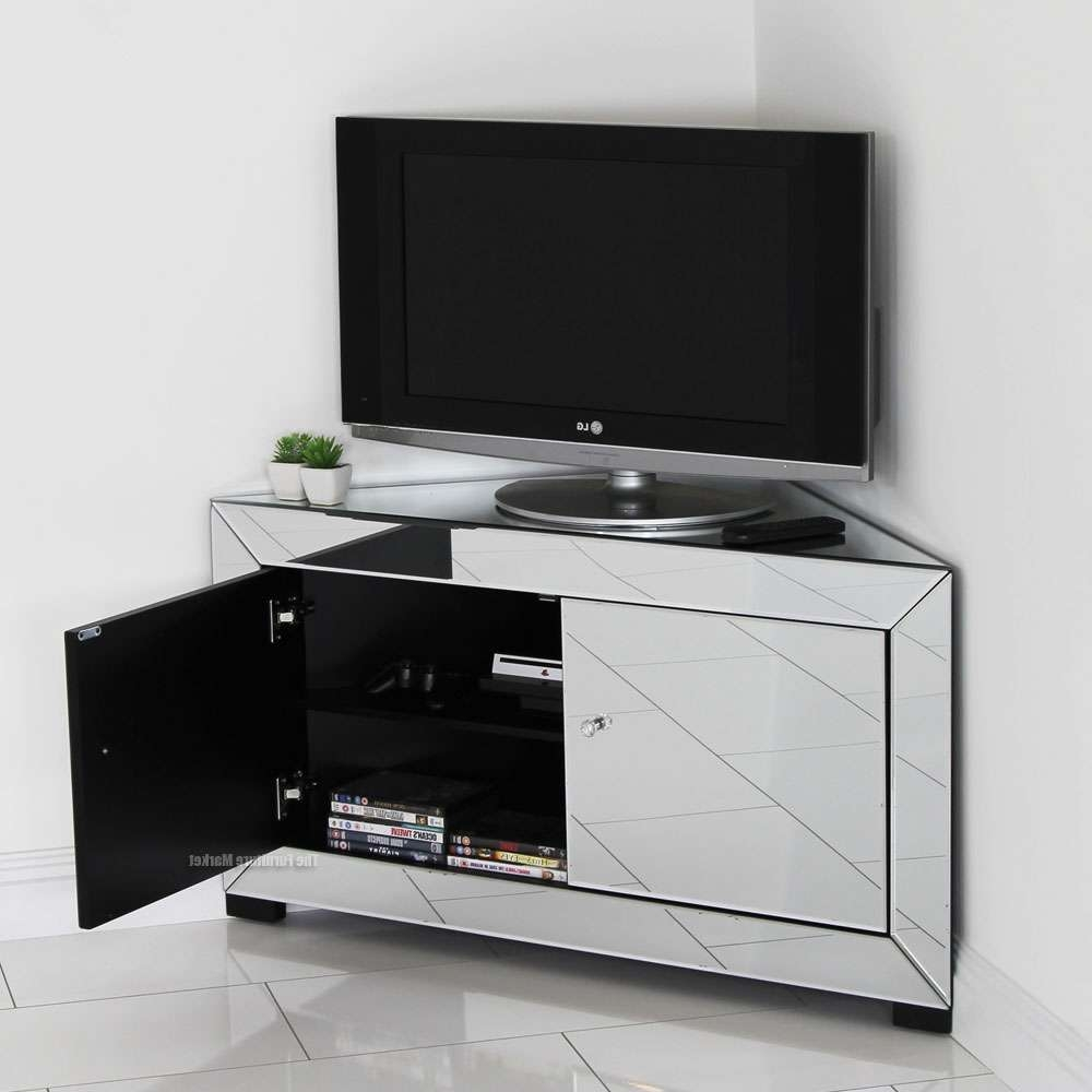 Venetian Mirrored Corner Tv Cabinet – Widescreen Plasma Flatscreen Pertaining To Mirrored Tv Cabinets Furniture (View 14 of 20)