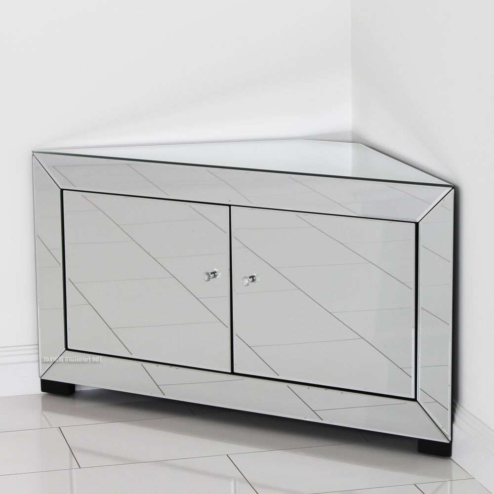 Venetian Mirrored Corner Tv Cabinet – Widescreen Plasma Flatscreen Within Mirrored Tv Cabinets Furniture (View 11 of 20)