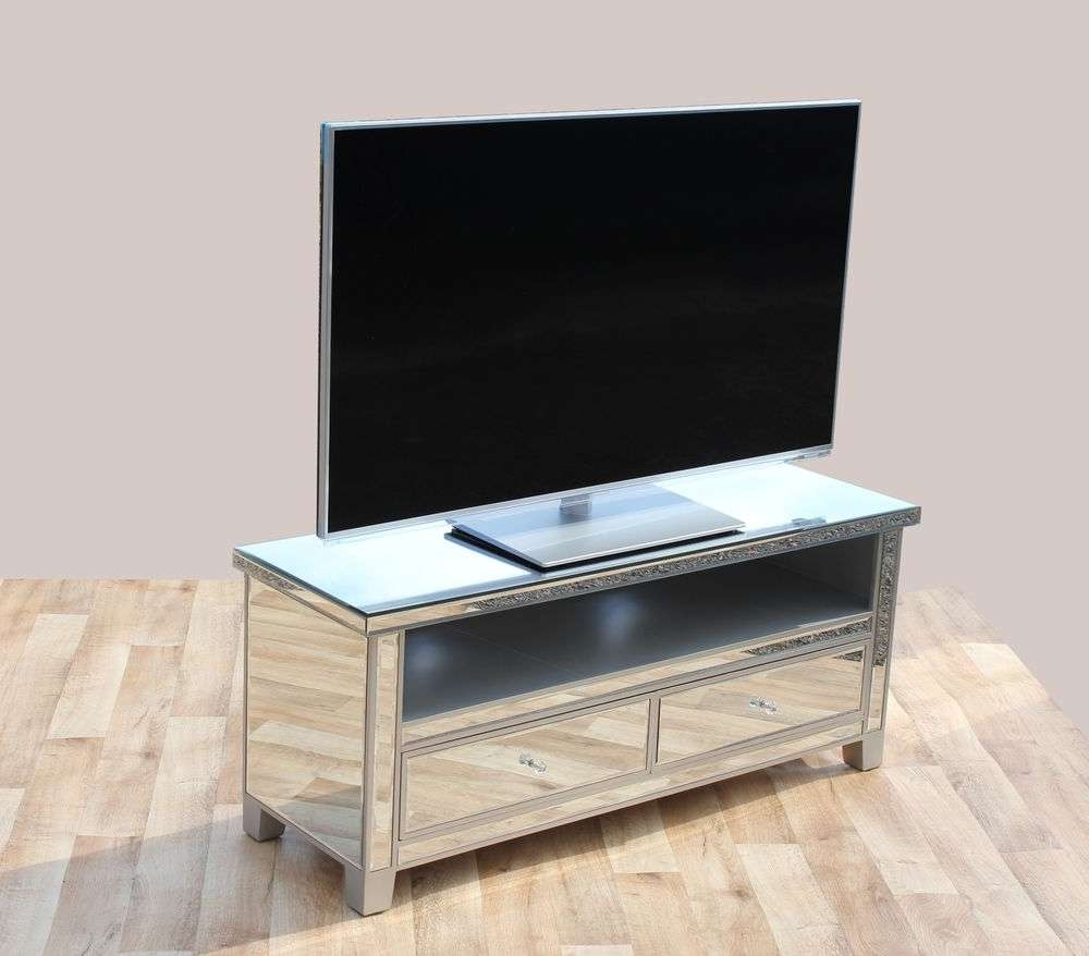 Venetian Mirrored Tv Stand, Mirrored Tv Cabinet With 2 Drawers For Throughout Mirrored Tv Cabinets Furniture (View 6 of 20)