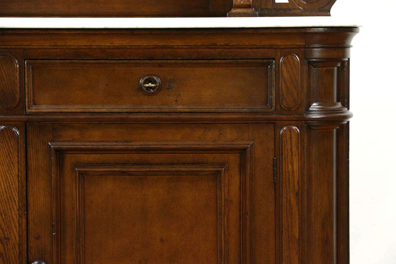 Victorian Grape Carved Oak Antique 1870 Sideboard, Server Or Inside Marble Top Sideboards (Gallery 19 of 20)