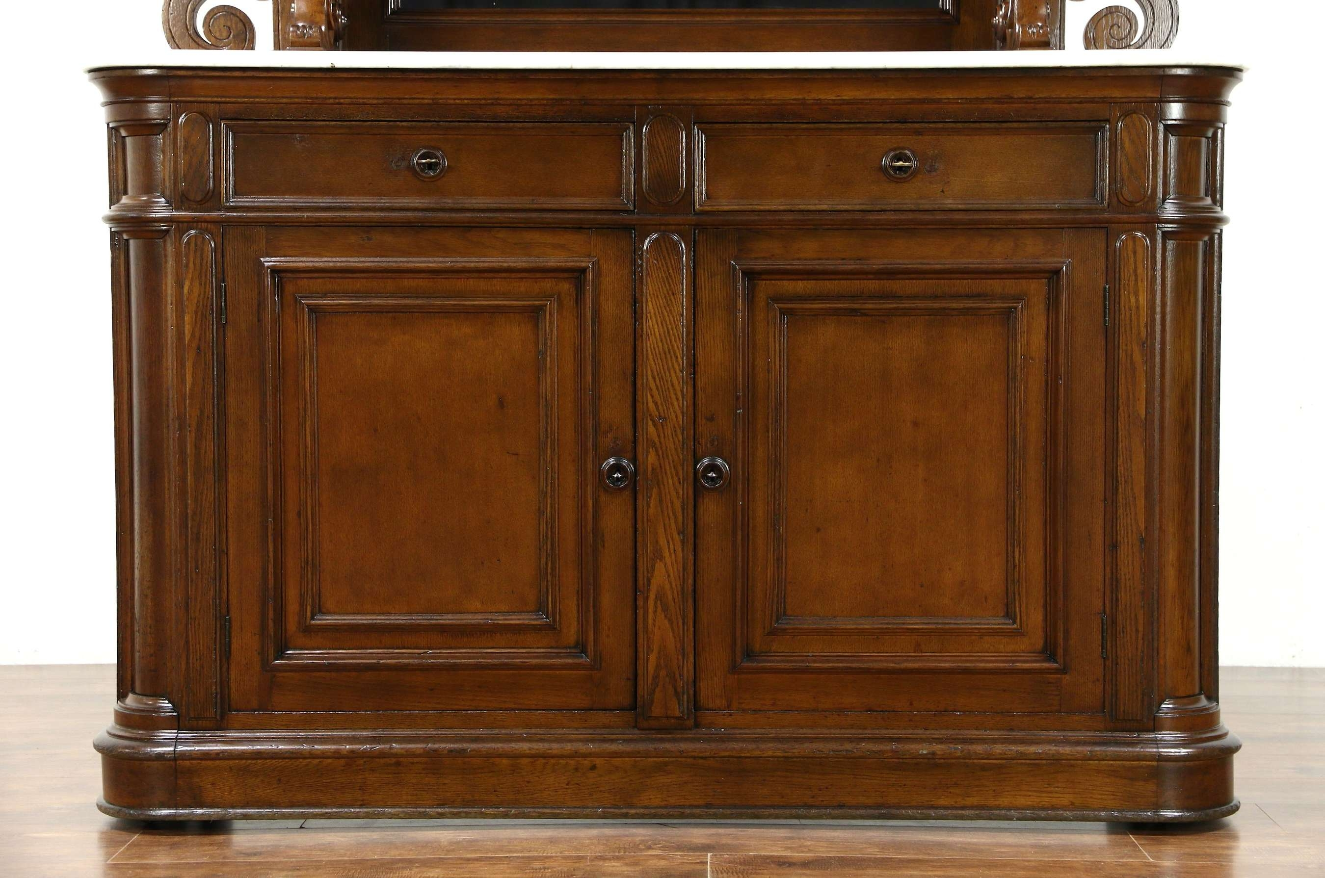 Victorian Grape Carved Oak Antique 1870 Sideboard, Server Or With Sideboards With Marble Tops (View 20 of 20)
