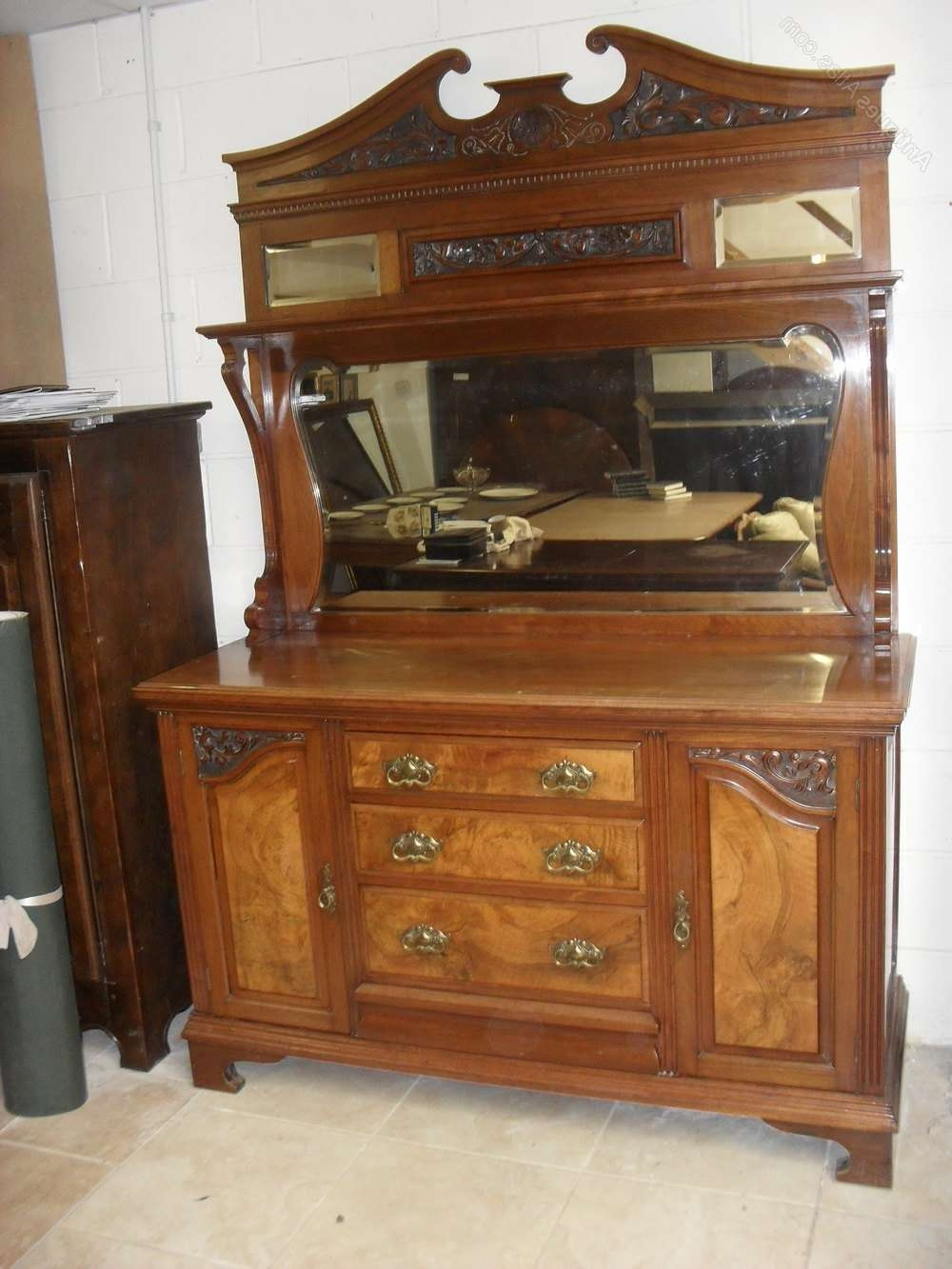 Victorian Walnut Mirror Back Sideboard – Antiques Atlas Throughout Antique Sideboards With Mirror (View 9 of 20)