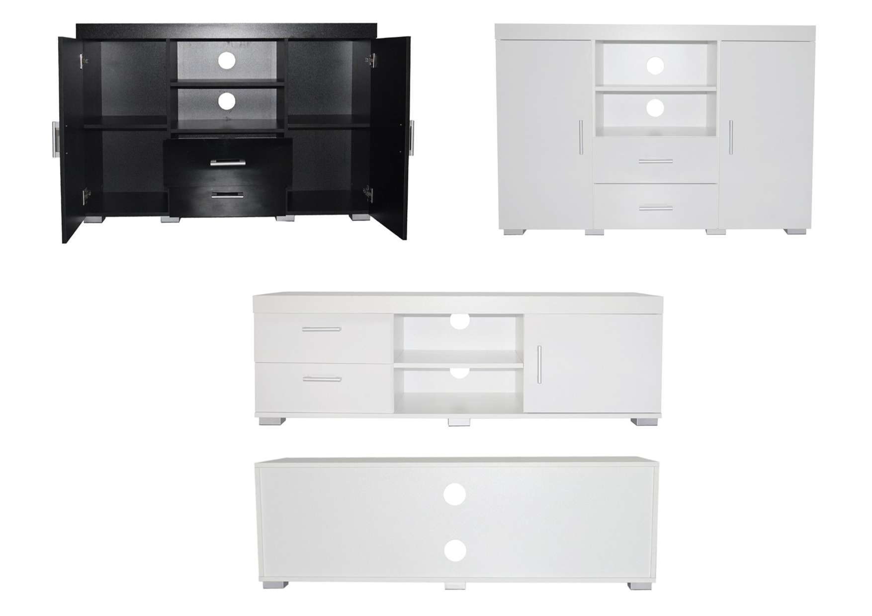 Vienna Gloss Sideboards And Media Tv Units – White Or Black High With Regard To High Gloss Sideboards (View 10 of 20)