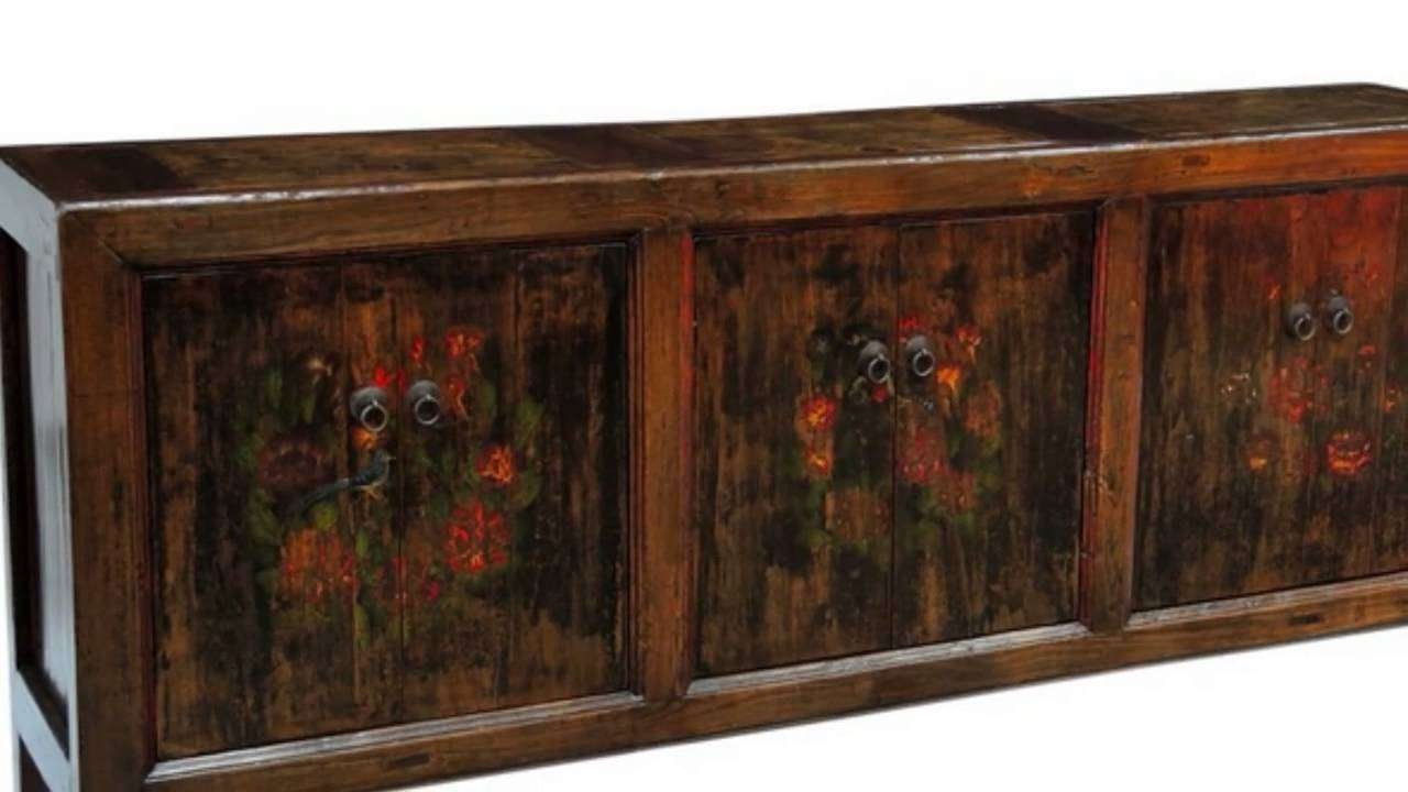 Vintage Asian Hand Carved, Painted, Wooden Sideboards – Youtube For Asian Sideboards (Gallery 17 of 20)