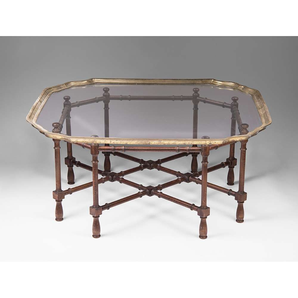 Vintage Baker Furniture Faux Bamboo Coffee Table With Glass Top Throughout Best And Newest Retro Glass Top Coffee Tables (View 15 of 20)
