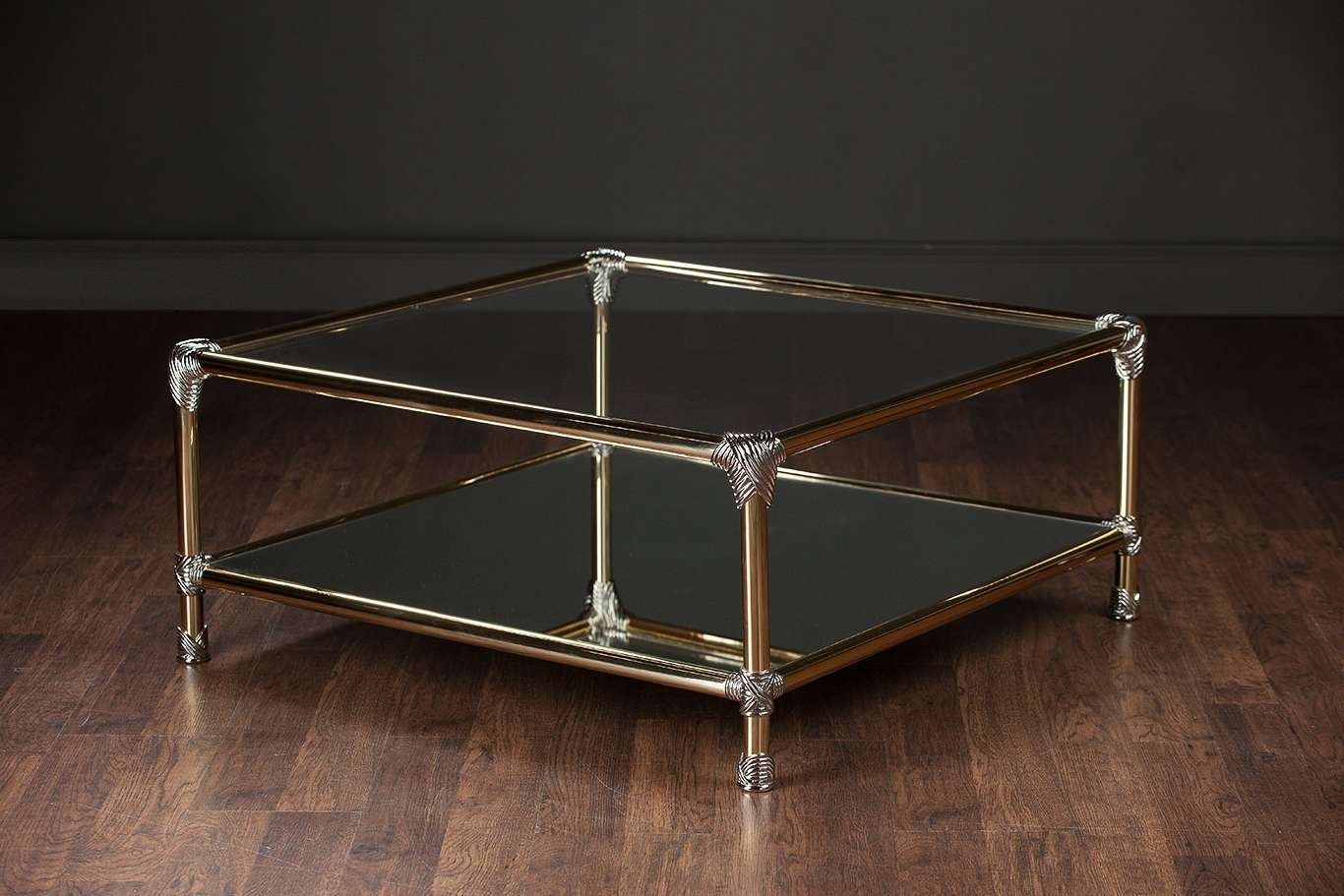 Vintage Brass And Chrome Coffee Table – Mecox Gardens Regarding Most Popular Vintage Glass Coffee Tables (View 11 of 20)