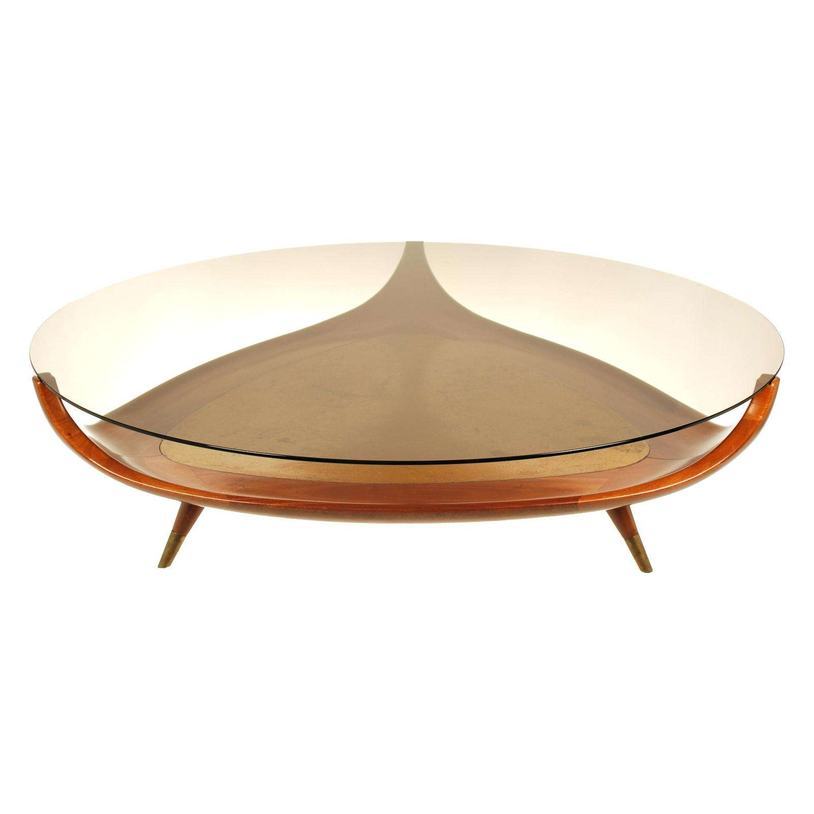 Vintage Brass Krusin Square Coffee Table In Oak With Glass Top Within Most Up To Date Retro Glass Top Coffee Tables (View 16 of 20)