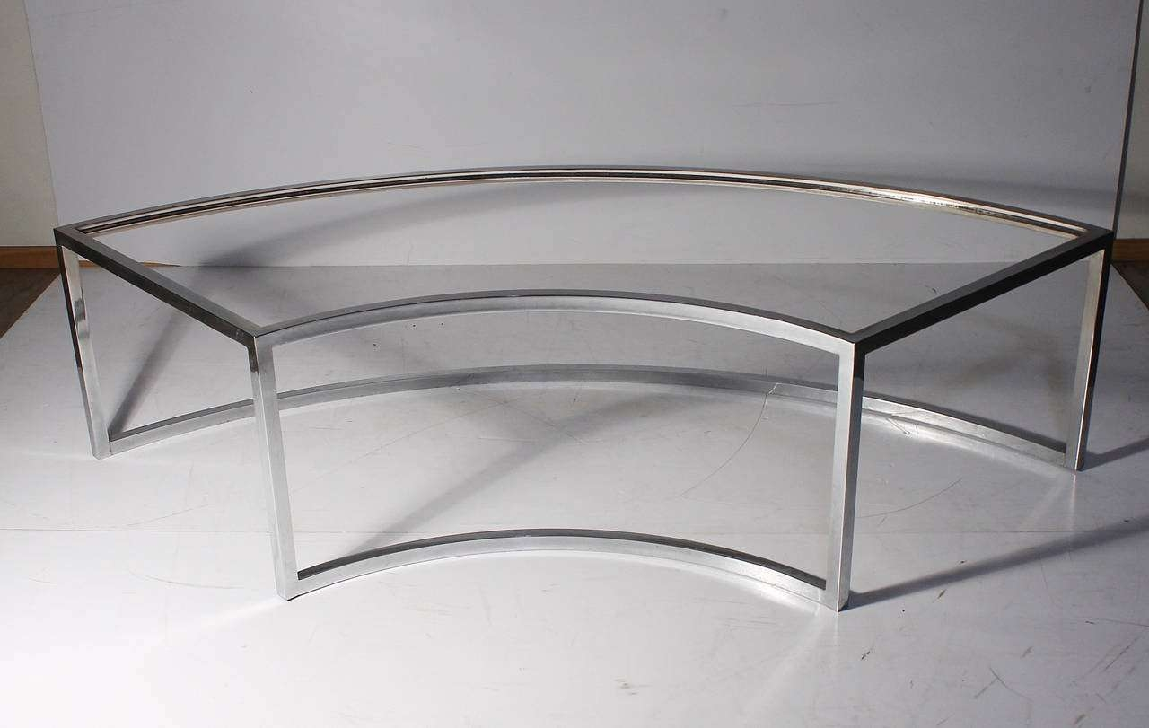 Vintage Chrome Curved Coffee Table Attributed To Milo Baughman For Throughout Popular Curve Coffee Tables (View 16 of 20)