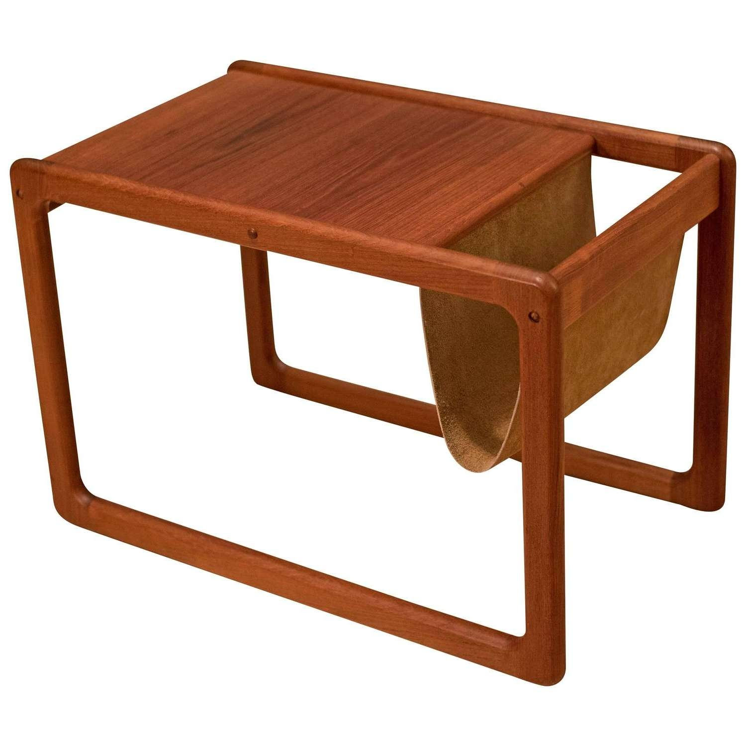 Vintage Danish Leather Magazine Rack Side Table At 1stdibs With Regard To Current Coffee Tables With Magazine Rack (View 7 of 20)