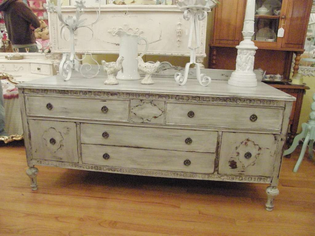Vintage Distressed Buffet Table — New Decoration : Round Throughout Vintage Sideboards And Buffets (Gallery 5 of 20)