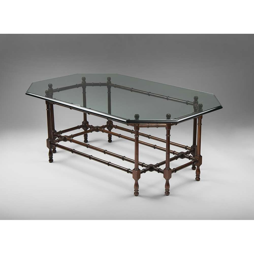 Vintage Faux Bamboo Coffee Table With Glass Top (View 20 of 20)