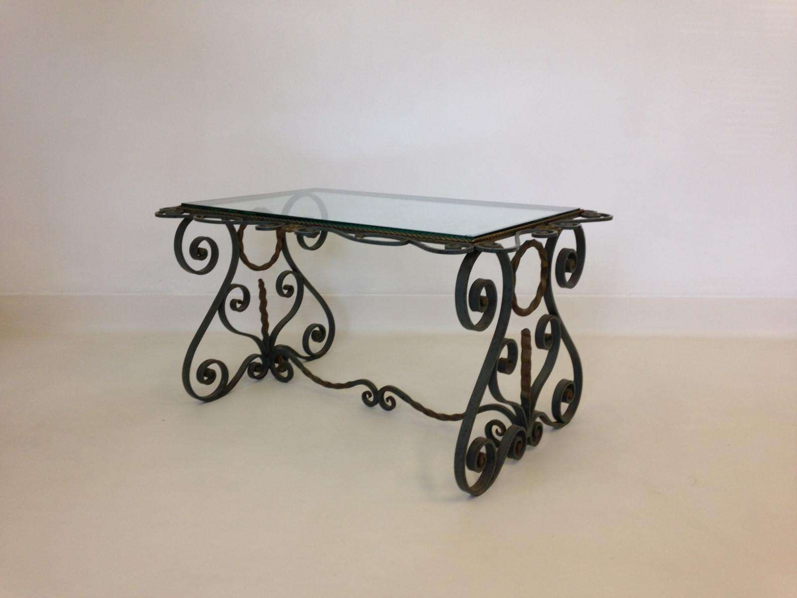 Vintage French Wrought Iron Coffee Table For Sale At Pamono Regarding Widely Used Wrought Iron Coffee Tables (Gallery 12 of 20)