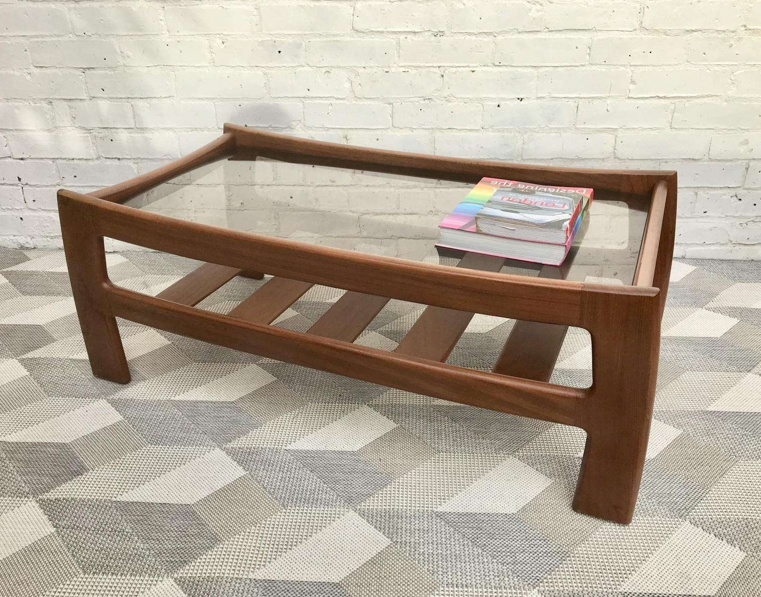 Vintage Glass Coffee Table With Shelf From G Plan For Sale At Pamono Inside Trendy Glass Coffee Tables With Shelf (Gallery 19 of 20)