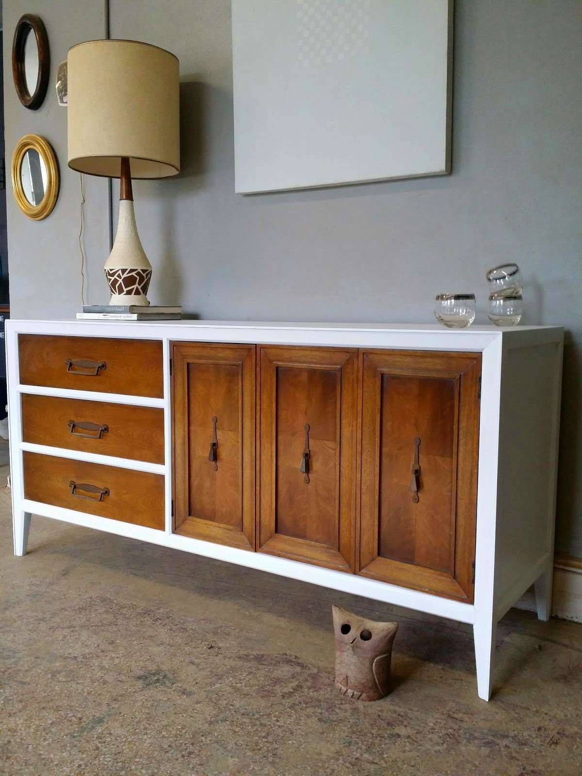 Vintage Ground: Mid Century White / Wood Credenza Media Console Buffet For White Wood Sideboards (Gallery 14 of 20)