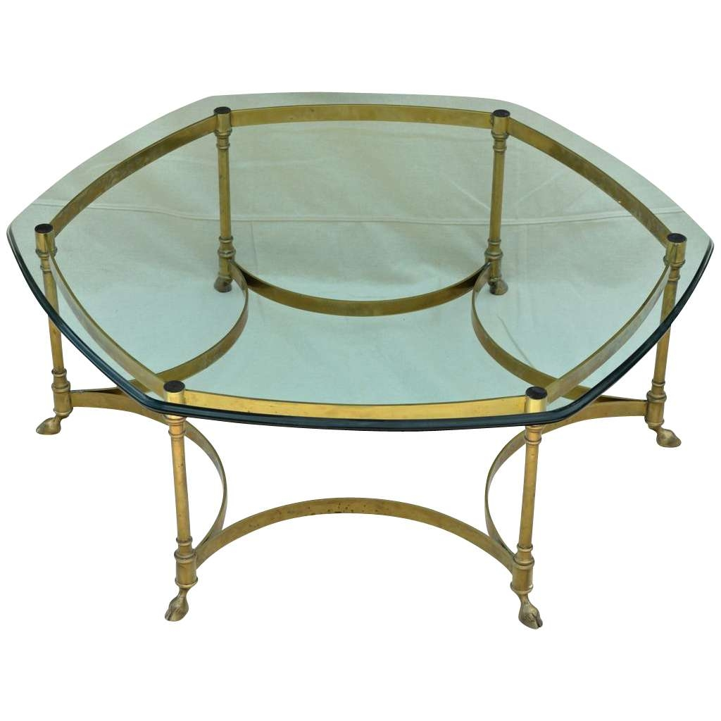Vintage La Barge / Labarge Brass Coffee Table – Heavy Glass Top Intended For Newest Retro Glass Top Coffee Tables (Gallery 3 of 20)