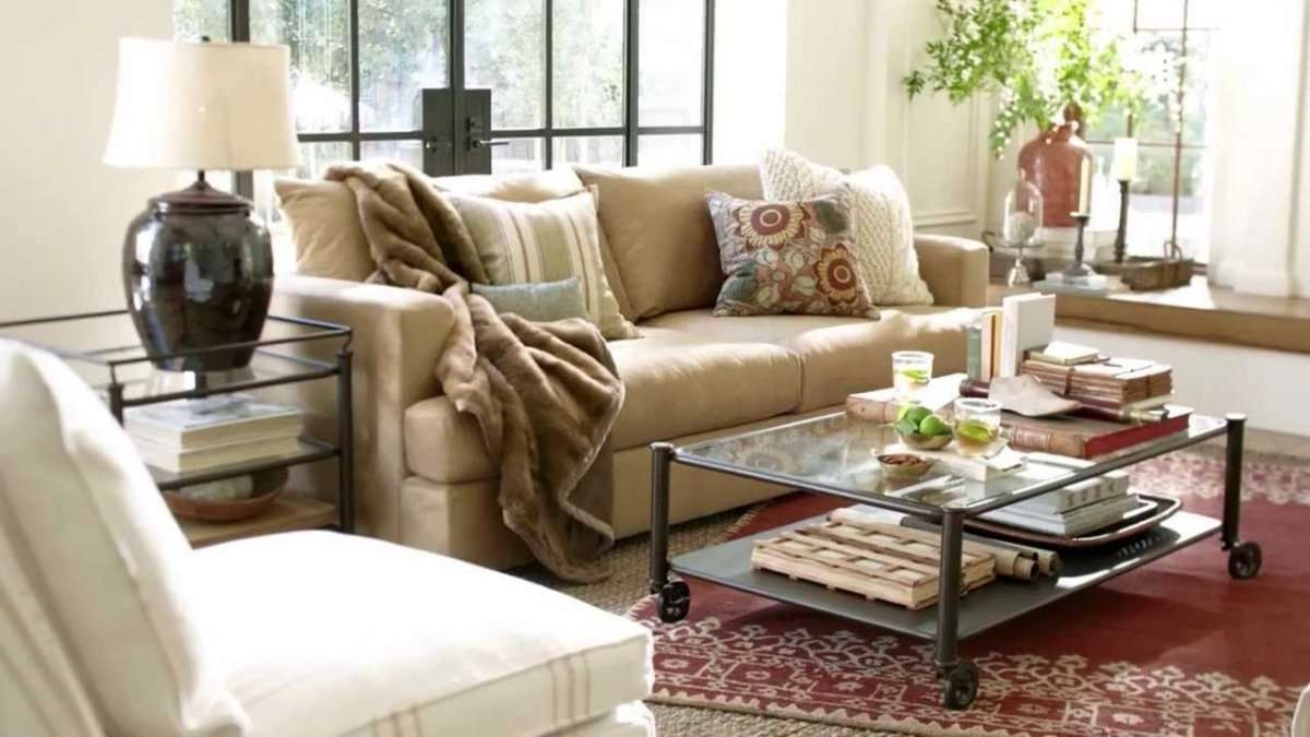 Vintage Living Room With Pottery Barn Performance Suede Fabric Pertaining To Favorite Antique Glass Pottery Barn Coffee Tables (View 18 of 20)
