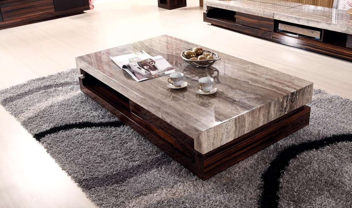 Vintage Look Modern Low Profile Coffee Table With Marble Top With Throughout Recent Low Height Coffee Tables (View 6 of 20)