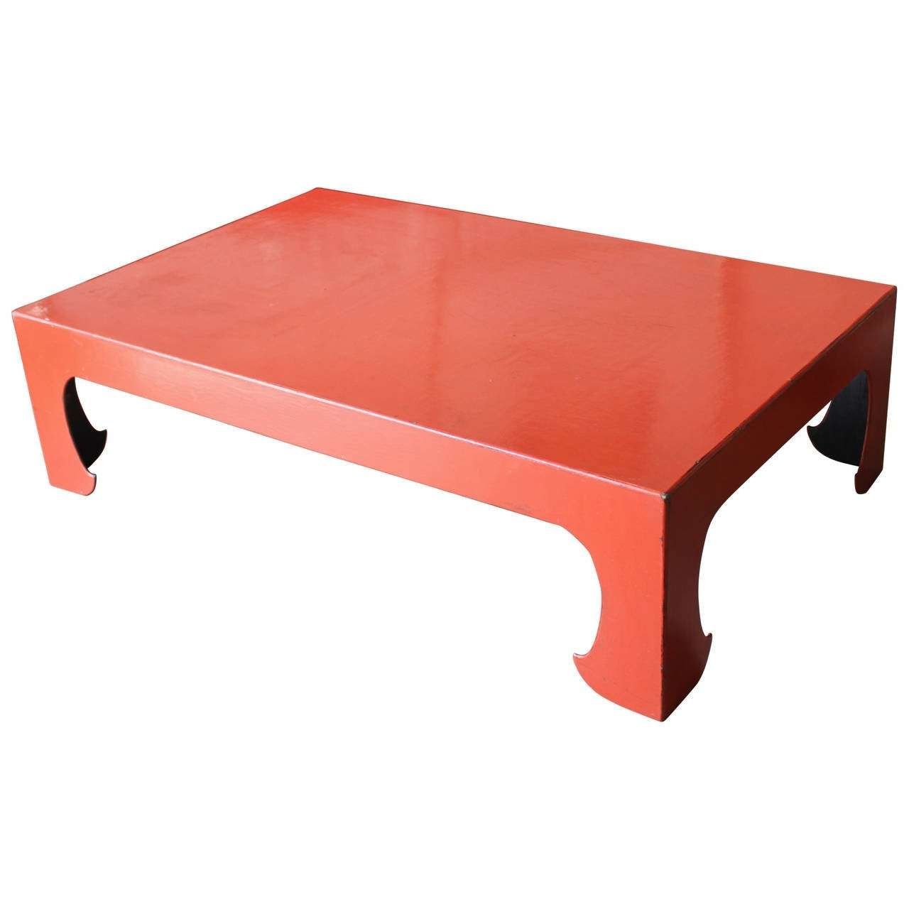 Vintage Red Coral Lacquered Chinese Coffee Table For Sale At 1stdibs For Well Known Chinese Coffee Tables (View 2 of 20)