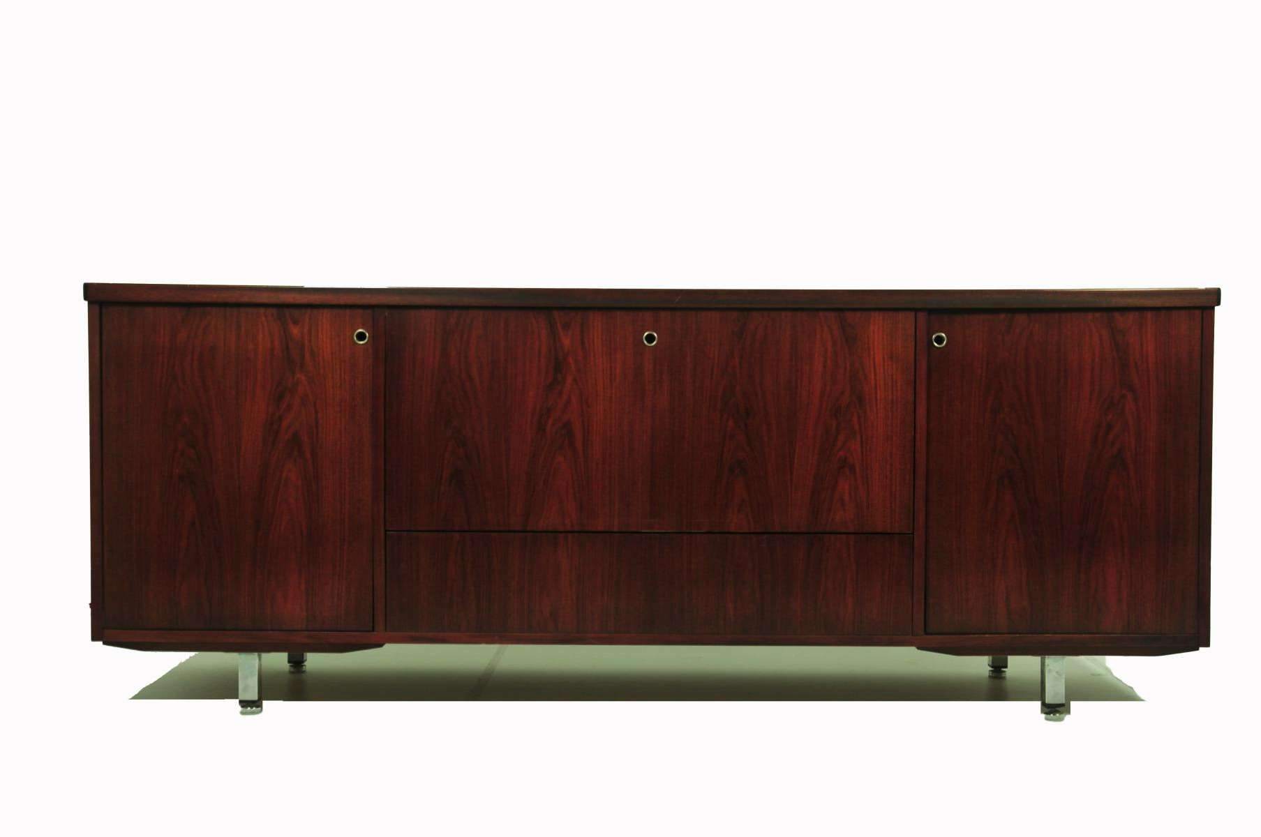 Vintage Rosewood Sideboard With Bar Cabinet For Sale At Pamono Inside Sideboards Bar Cabinet (View 4 of 20)