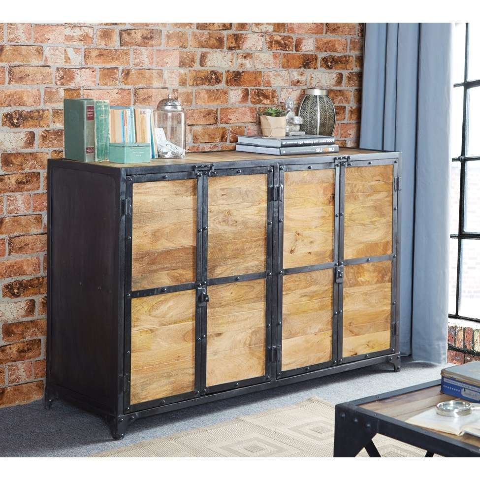 Vintage Up Cycled Industrial Large Sideboard Inside Industrial Sideboards (Gallery 15 of 20)