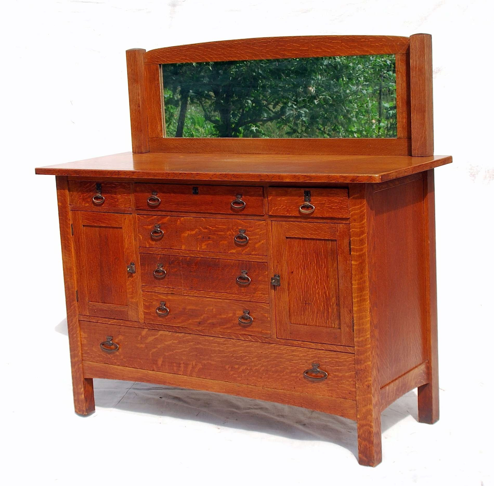 Voorhees Craftsman Mission Oak Furniture – Limbert Mirror Backed For Small Mirrored Sideboards (View 16 of 20)