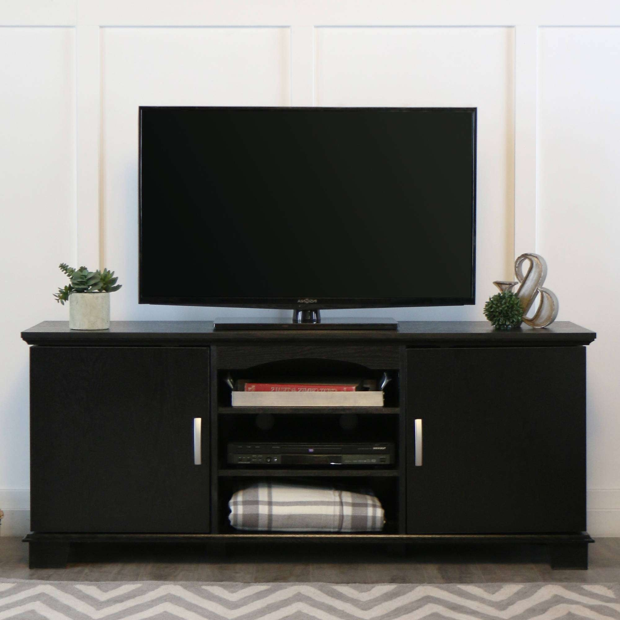 "Walker Edison Black Tv Stand For Tvs Up To 65"", Multiple Colors In Black Tv Cabinets With Drawers (View 6 of 20)"
