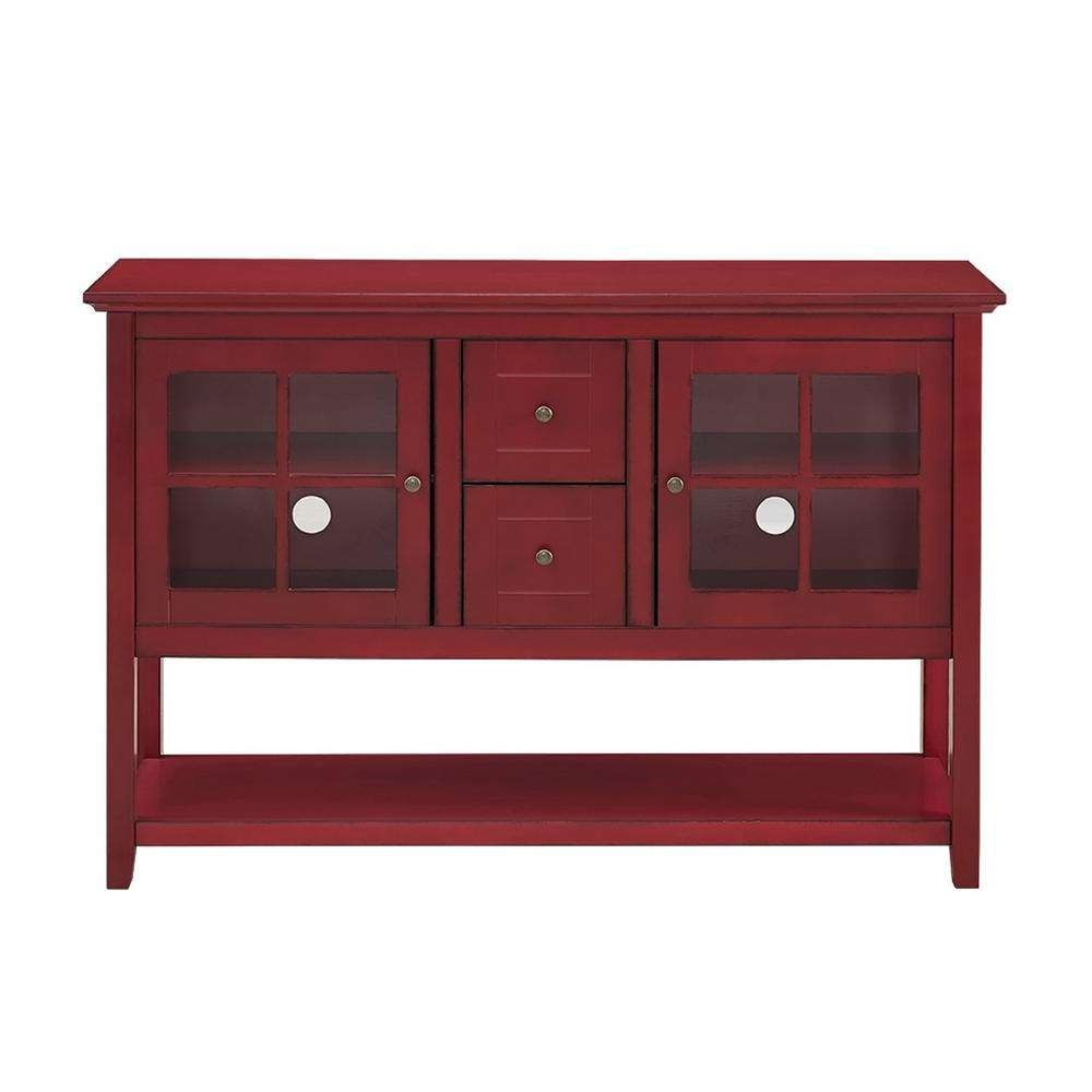 Walker Edison Furniture Company Antique Red Buffet With Storage Regarding Red Sideboards (View 6 of 20)