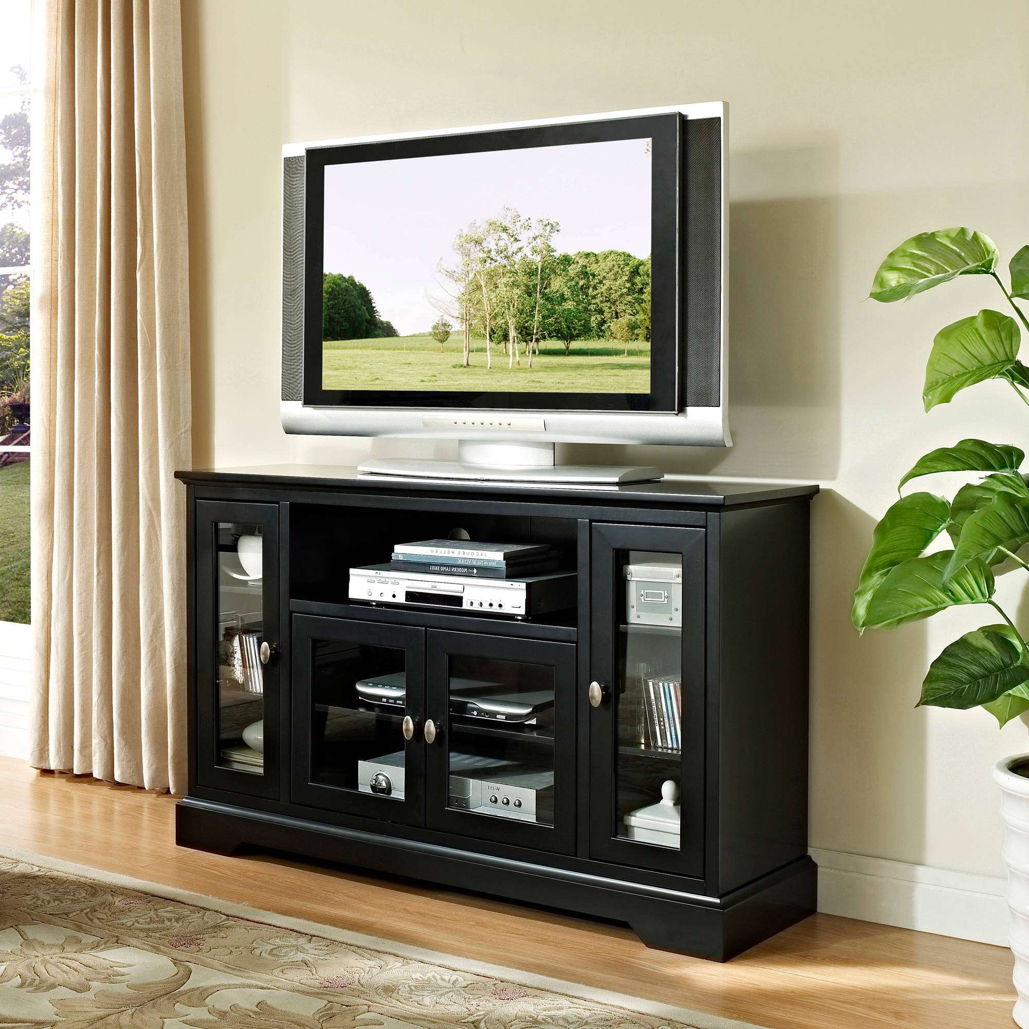 "Walker Edison Highboy Style Tv Stand For Tvs Up To 55"", Muliple Inside Tall Black Tv Cabinets (View 3 of 20)"