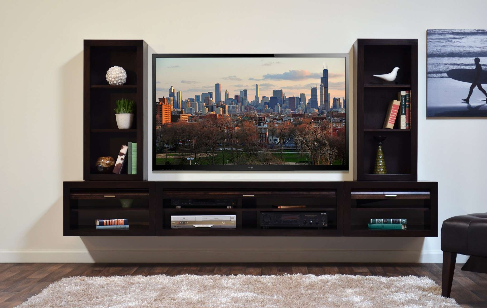 Wall Mounted Black Wooden Media Shelves With Twin Display Open With Regard To Wall Display Units And Tv Cabinets (View 16 of 20)