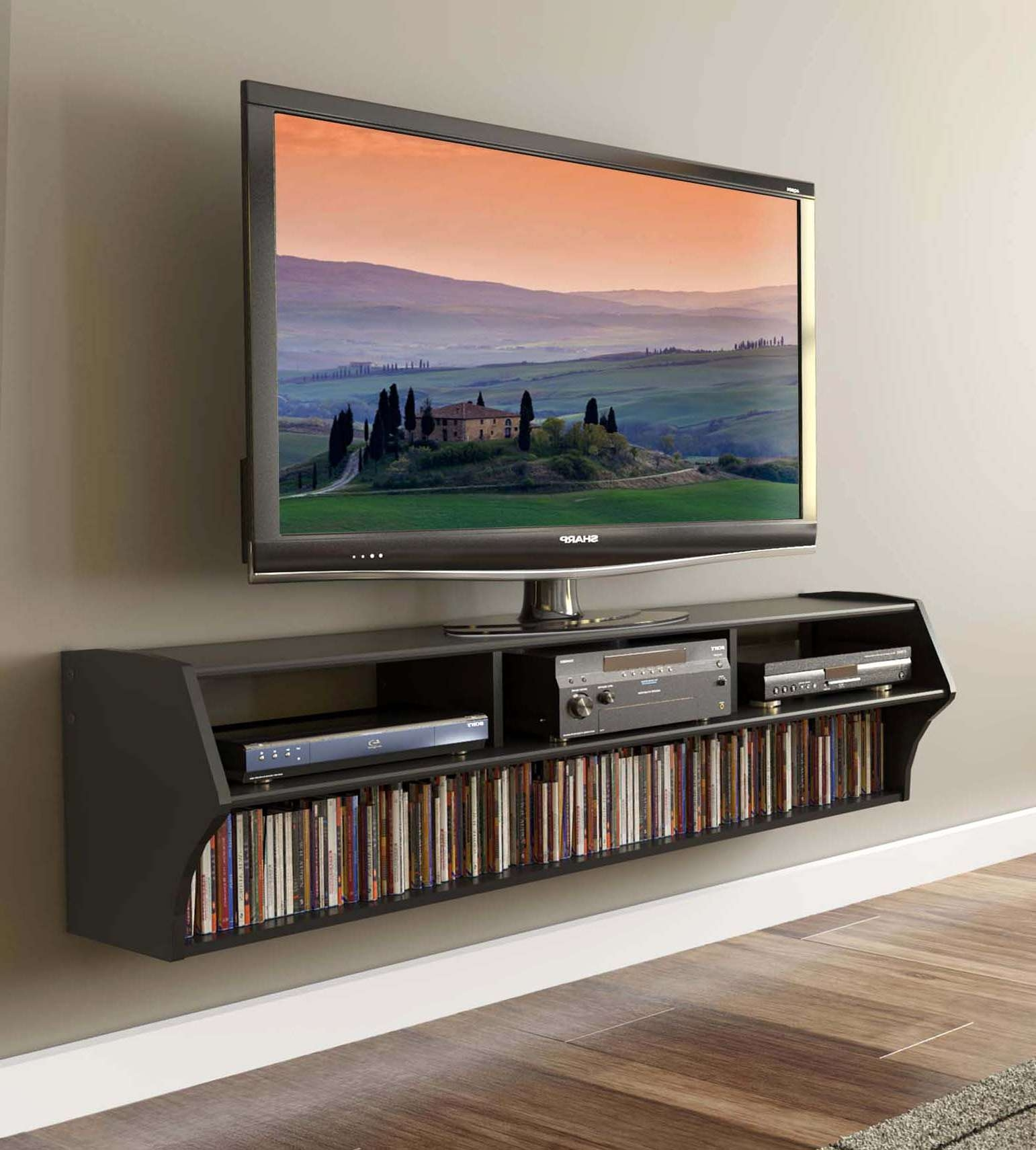 Wall Mounted Flat Screen Tv Cabinet With 58 Wide Black Wall Regarding Wall Mounted Tv Cabinets For Flat Screens With Doors (View 10 of 20)