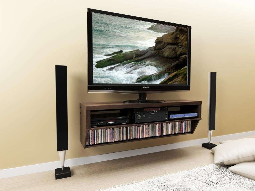 Wall Mounted Media Storage Shelvesfurniture Brown Wooden Floating Pertaining To Floating Tv Cabinets (View 15 of 20)