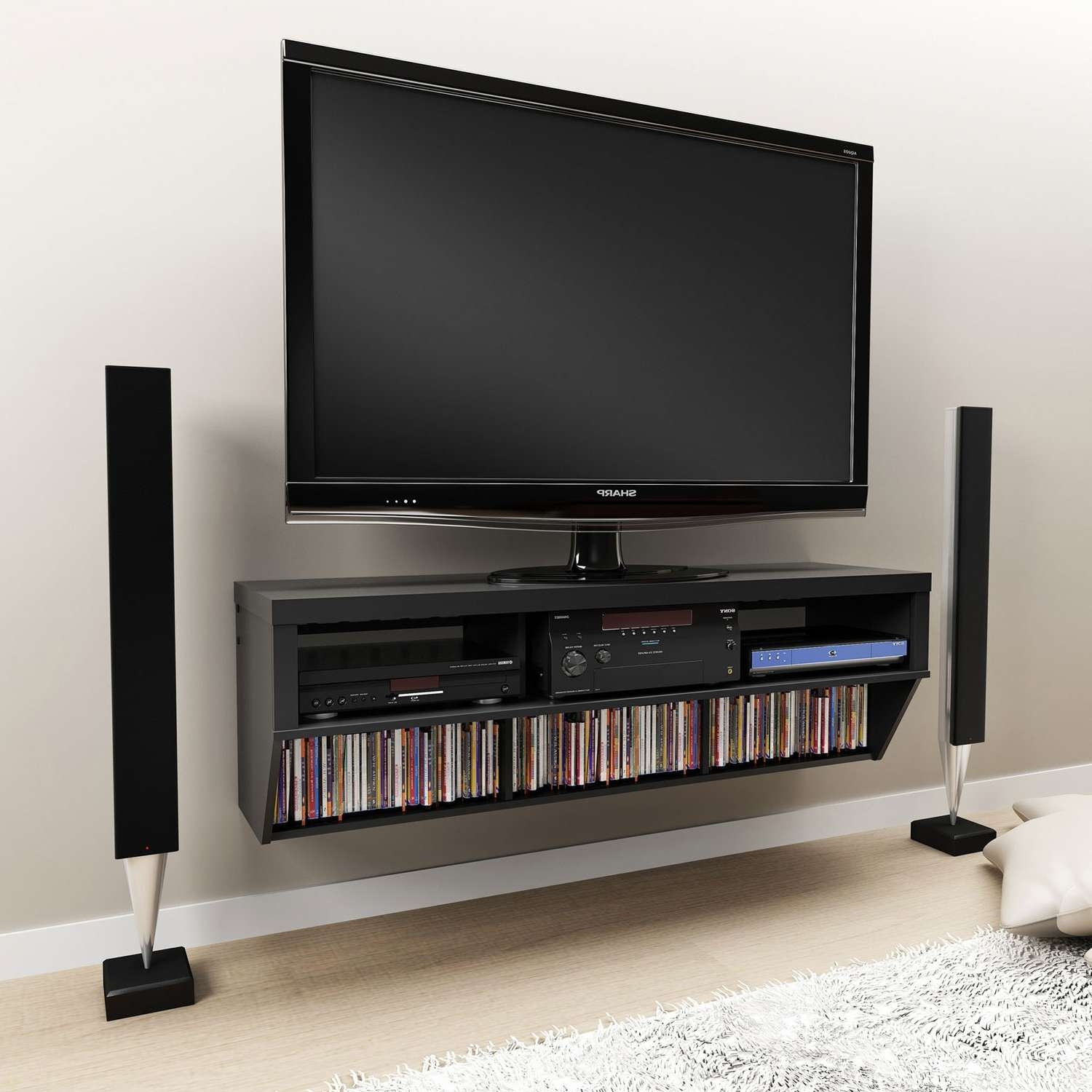 Wall Mounted Media Storage Shelveswall Shelves Tv Cabinets With Throughout Long Tv Cabinets Furniture (View 18 of 20)