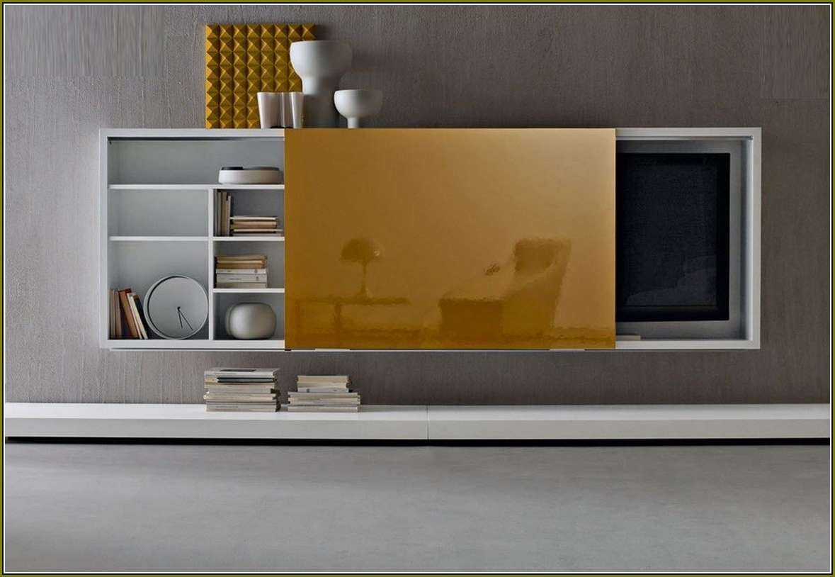 Featured Photo of Wall Mounted Tv Cabinets With Sliding Doors
