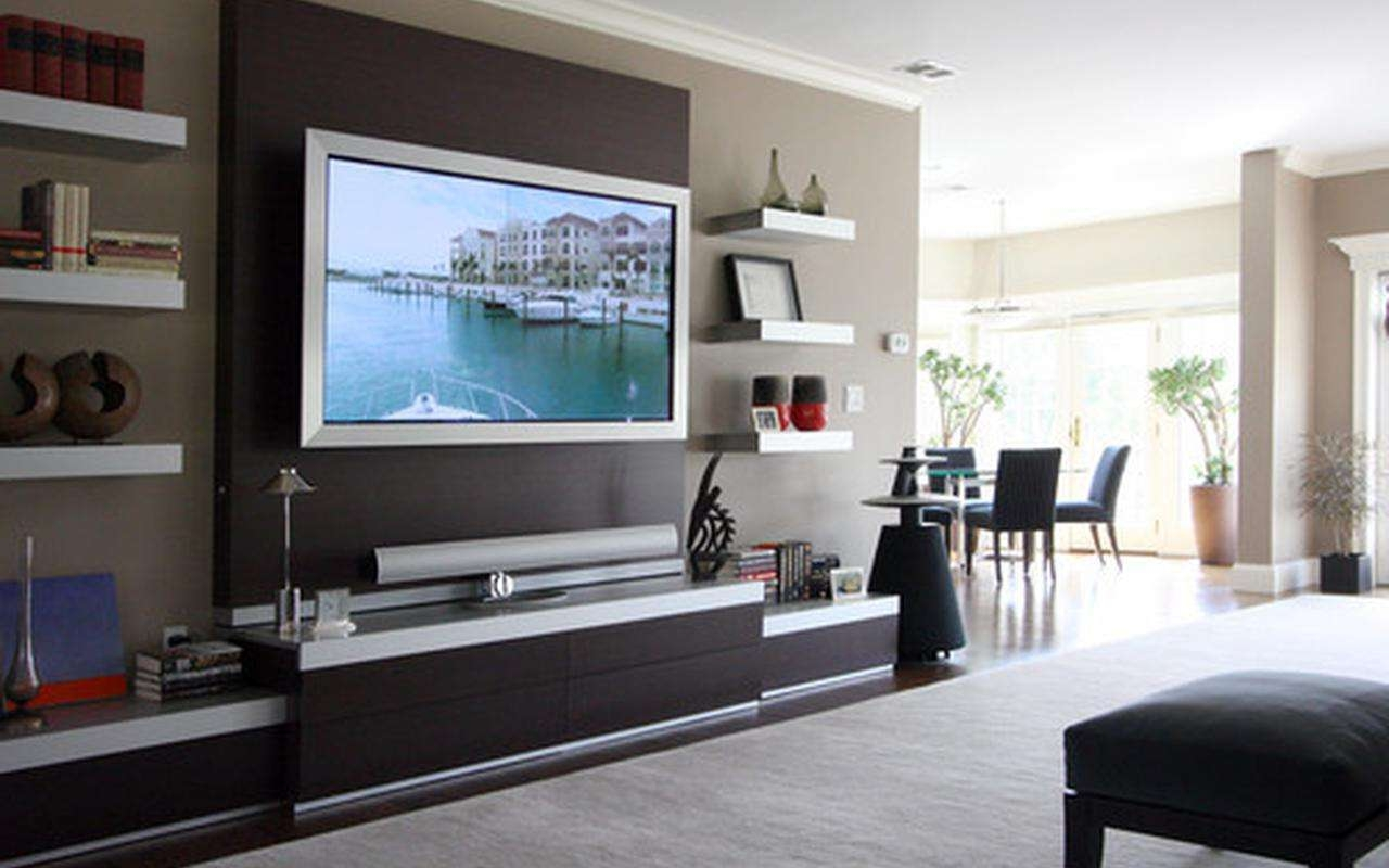 20 photos wall mounted tv cabinets for flat screens for Wall mounted tv cabinet design ideas