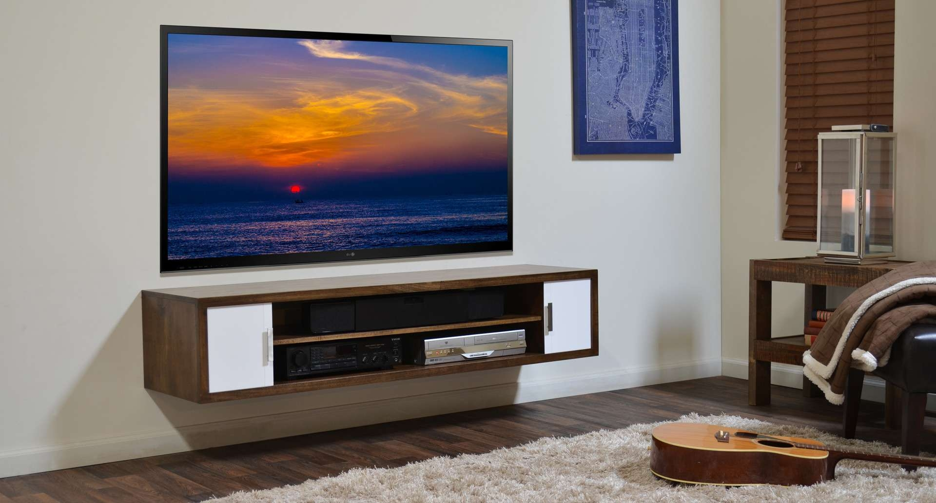 Wall Shelves Design: Floating Shelves Under Wall Mounted Tv For Wall Mounted Under Tv Cabinets (View 4 of 20)