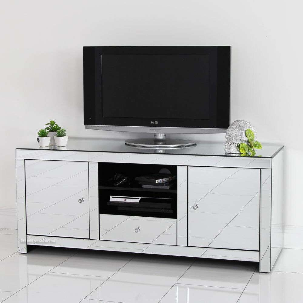 Wall Units: Best Mirrored Tv Stand Mirrored Vanity Desk, Dressers Within Glass Tv Cabinets (View 17 of 20)